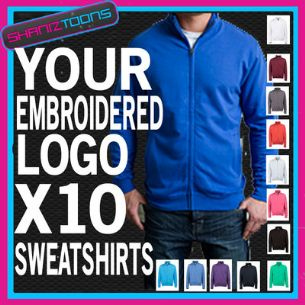 WORKWEAR BUSINESS COMPANY ZIPPED SWEATSHIRT EMBROIDERED FULL COLOUR LOGO X10